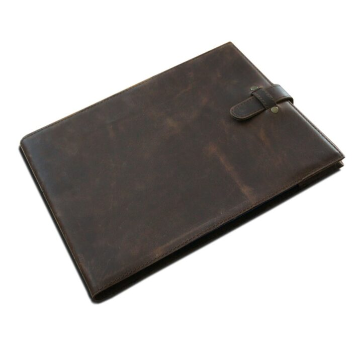 A4 Leather Slip Cover - Tan Leather - To Fit Visitor Guest Book. Dark Brown Leather