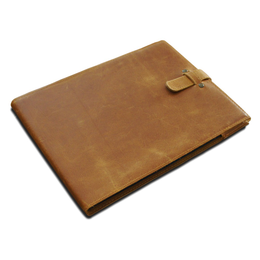 A4 Leather Slip Cover - Tan Leather - To Fit Visitor Guest Book