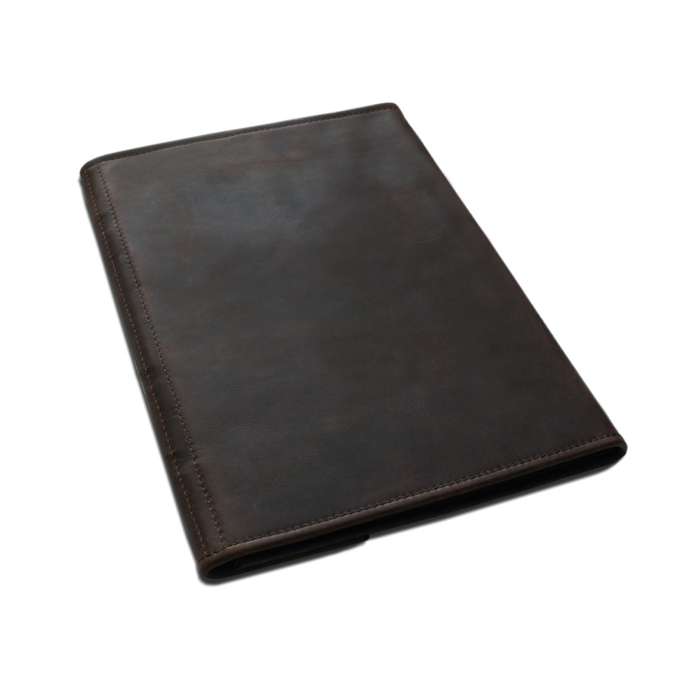 Leather Dark Brown A4 Organiser With Belt Slip Cover