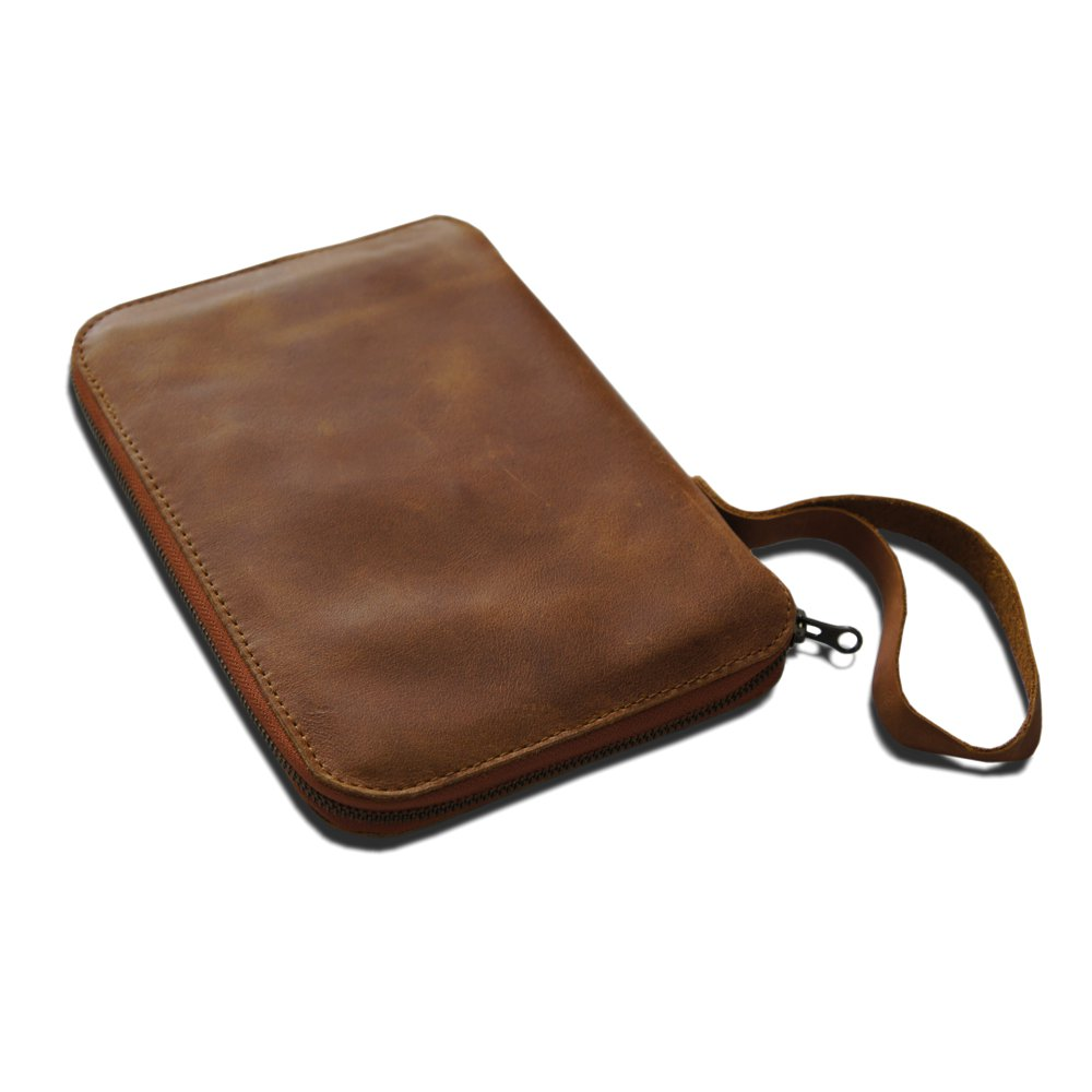 A5 leather slip cover organizer with zip tan light brown