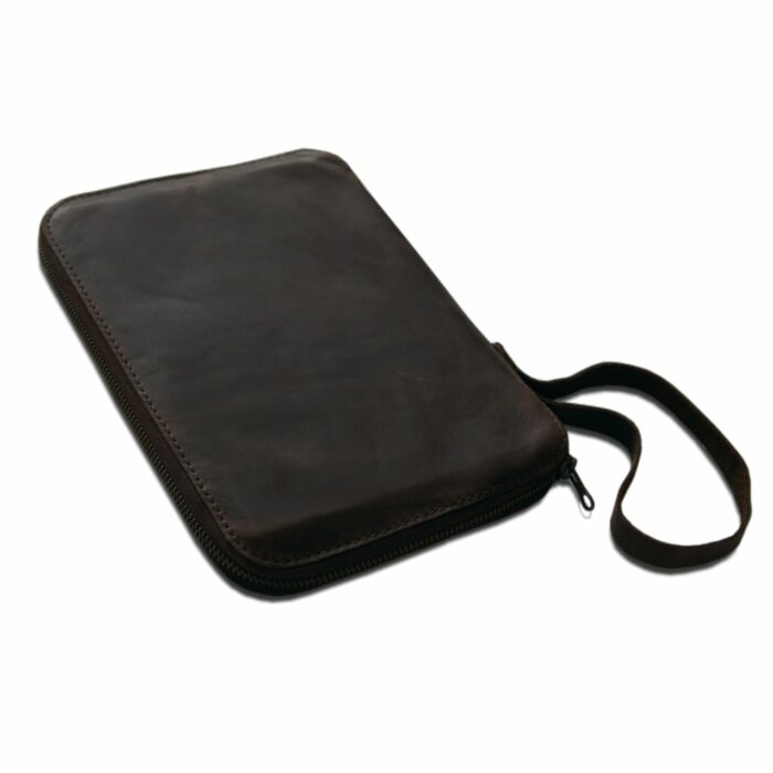 Leather Dark Brown A5 Book Cover With Zip and handle South Africa