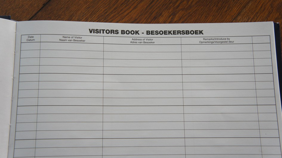 Closeup of the pages of the visitors book