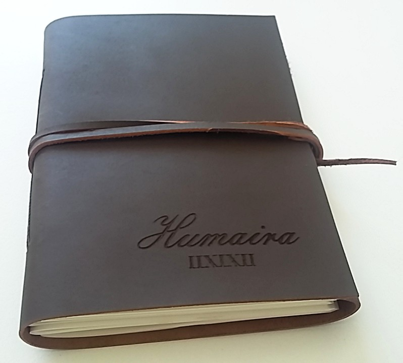 Laser Engraving Sample on a Leather Book Front Cover
